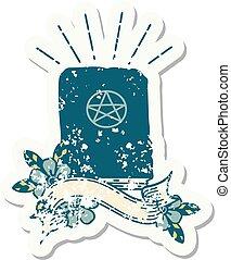 grunge sticker of tattoo style spellbook
