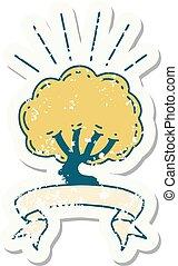 grunge sticker of tattoo style tree