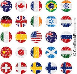 grunge, stijl, land, vlag, iconen