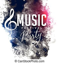 grunge, stil, musik, parti, festival, flygare, affisch, design