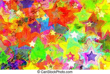 grunge, stjärnor, på, väggen