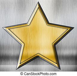 grunge, stjerne, på, en, metal, baggrund