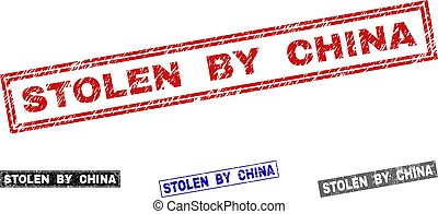 Grunge STOLEN BY CHINA Scratched Rectangle Stamps