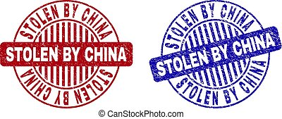 Grunge STOLEN BY CHINA Textured Round Stamps