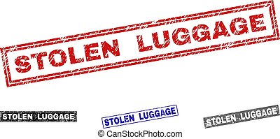 Grunge STOLEN LUGGAGE Scratched Rectangle Stamps