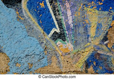 Grunge stone wall with colorful paint