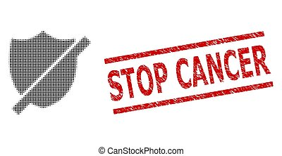 Stop shield halftone dotted vector and Stop Cancer rubber stamp. Stamp includes Stop Cancer tag between parallel lines. Stop shield vector is done of halftone pattern which contains round dots.