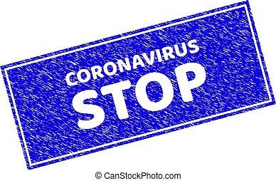 Grunge STOP CORONAVIRUS Scratched Rectangle Watermark