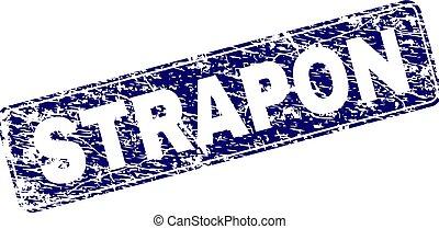 Grunge STRAPON Framed Rounded Rectangle Stamp - STRAPON...