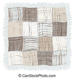 Grunge striped and checkered weave plaid with fringe in blue, beige, grey colors isolated on white background