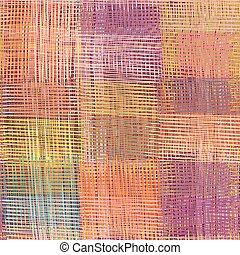 Grunge striped, checkered, quilt weave cloth seamless pattern in pastel colors