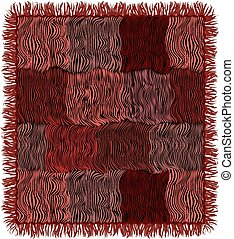 Grunge striped quilted carpet with fringe in brown, pink, violet, black colors isolated on white