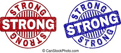 Grunge STRONG Scratched Round Stamp Seals