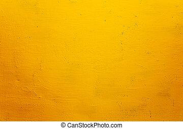 grunge, struktur, bakgrund, vägg, gul