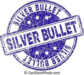 grunge, strukturerad, silver projektil, stämpel, försegla