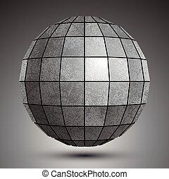 grunge, stworzony, kula, object., kwadraty, galwanizowany, abstrakcyjny, futurystyczny, 3d