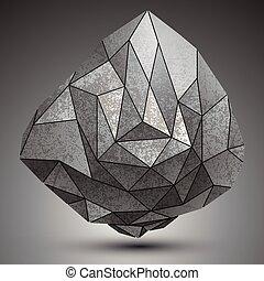 grunge, stworzony, obiekt, metaliczny, wymiarowy, projektować, model., przestrzenny, geometryczny, figury, futurystyczny
