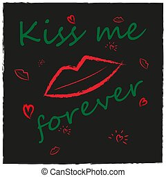 Grunge style background with lips, kiss, heart.