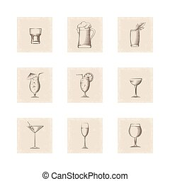 Grunge style drinks icons set