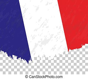 Grunge-style flag of France on a transparent background.