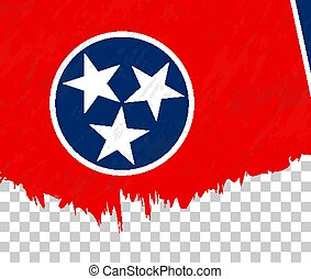 Grunge-style flag of Tennessee on a transparent background.