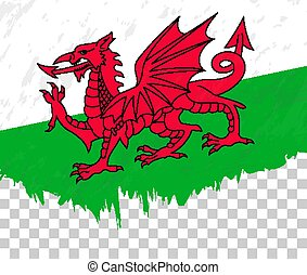 Grunge-style flag of Wales on a transparent background.