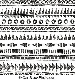 grunge, style., geométrico, plano de fondo, tribal, primitivo, vector, pattern., mano, dibujado