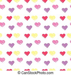 grunge style hearts background. pattern with hearts drawn by...