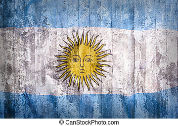 Grunge style of Argentina flag on a brick wall