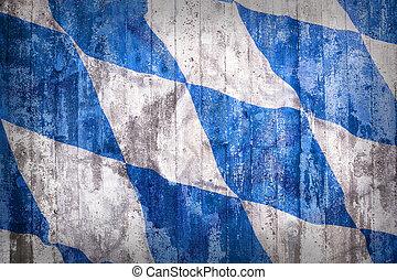 Grunge style of Bavaria flag on a brick wall