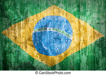 Grunge style of Brazil flag on a brick wall