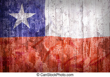 Grunge style of Chile flag on a brick wall