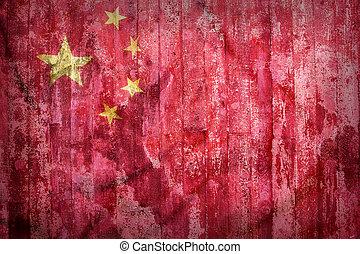 Grunge style of China flag on a brick wall