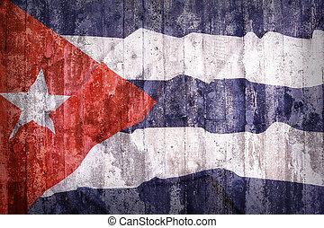 Grunge style of Cuba flag on a brick wall
