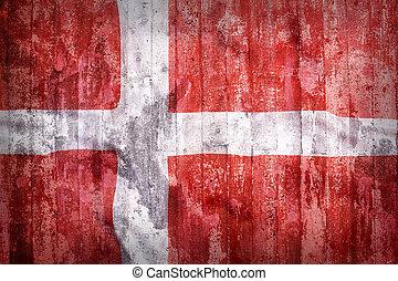 Grunge style of Denmark flag on a brick wall