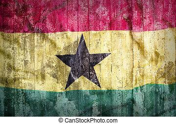 Grunge style of Ghana flag on a brick wall