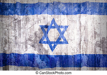 Grunge style of Israel flag on a brick wall
