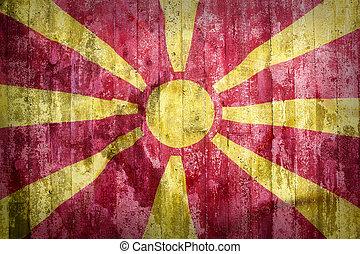 Grunge style of Macedonia flag on a brick wall