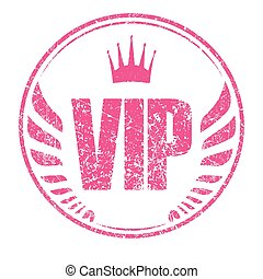 Grunge style rubber stamp with caption VIP and crown and...