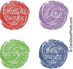 Grunge style set of multicolored on white background. Sale, best price, discount, special offer