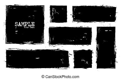 Grunge style set of square and rectangle shapes . Vector .