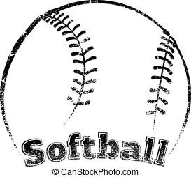 Grunge-style Softball Design - Grunge styled softball the...