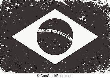 Grunge styled black and white flag Brazil. Old vintage background