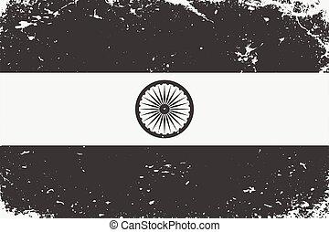 Grunge styled black and white flag India. Old vintage background