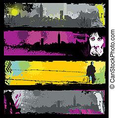 Grunge stylish urban banners.