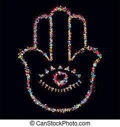Grunge stylized colorful Hamsa on black background -  vector