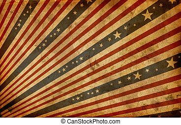 grunge, stylizowany, amerykańska bandera