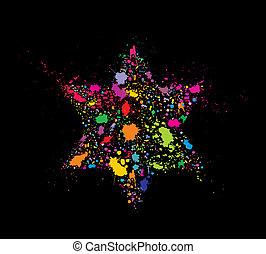 grunge, stylizowany, barwny, dawid, gwiazda, -, święto,...