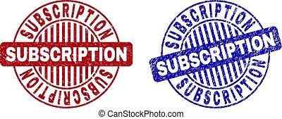 Grunge SUBSCRIPTION Textured Round Stamp Seals