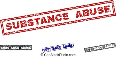 Grunge SUBSTANCE ABUSE Scratched Rectangle Stamp Seals